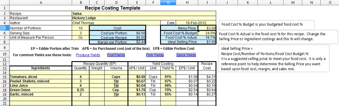 Recipe costing forkthisplate the quantities the weight or volume not both the price per unit and the yield percentage the formulas will calculate the recipe cost for each forumfinder Images